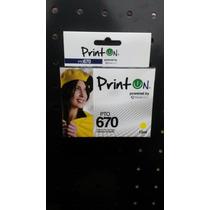 Cartucho Printon Compatible Hp 670xl Yellow 100% + Rendimien