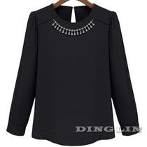 Blusa Negra Con Collar De Cristales Talla M En Stock Elle851
