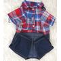 Overol Baby Jean Con Camisa A Cuadros Para Perros