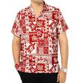 Camisa Hawaiana La Leela Likre Tropical Roja Y Blanca