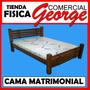 Cama Matrimonial En Madera - Comercial George