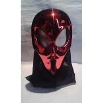 Mascara Alien Rojo Metalico Para Disfraces