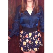 Lindo Conjunto Combinado En Azul Marino Falda Y Blusa T- M