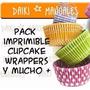Pack Imprimible Cupcakes Wrappers + Guias De Recetas Cupcake