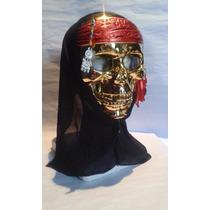 Mascara Calavera Esqueleto Pirata Dorada Para Disfraces