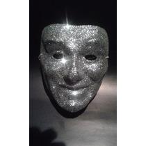 Mascara Plateada Con Escarcha Para Disfraces Carnaval