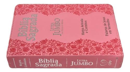 a bíblia sagrada letra jumbo  com harpa corrigida e revista