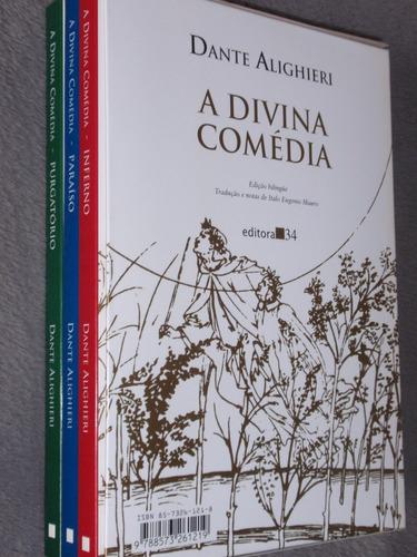 a divina comédia - dante alighieri - ed. 34 - bilingue 3 vol