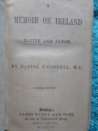 a memoir on ireland native and saxon d  o´connell fines 1800
