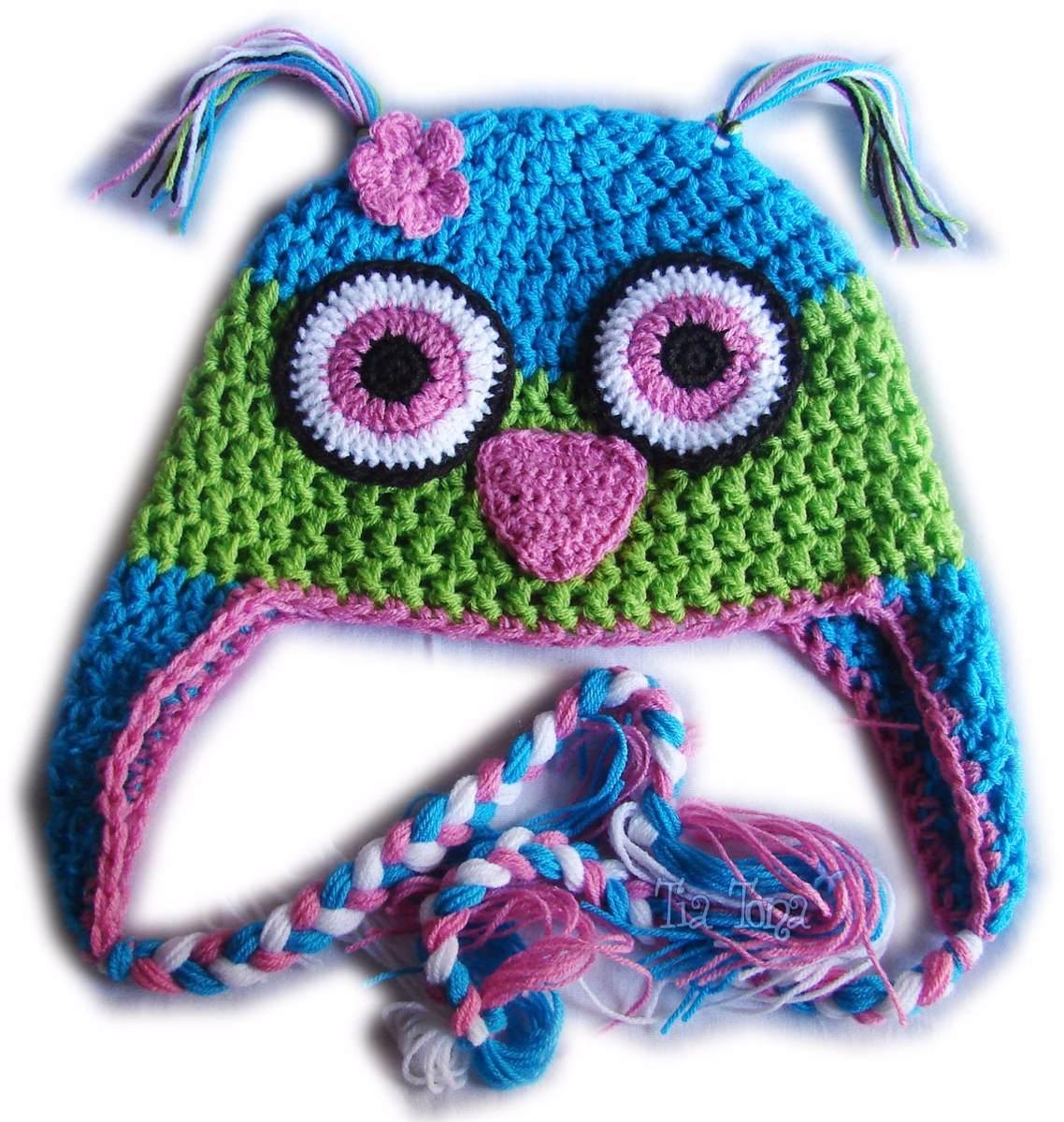 A Pedido Gorros Buhos Niños Orejeras Trenzas Crochet - $ 230,00 en ...
