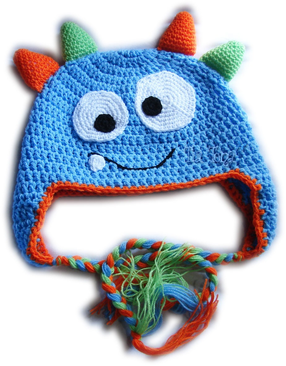 A Pedido Gorros Monstruos Niños Orejeras Trenzas Crochet - $ 230,00 ...