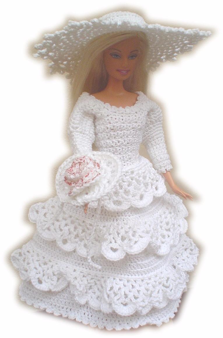 Bonito Crochet Patrón De Vestido De Novia Barbie Bosquejo - Manta de ...