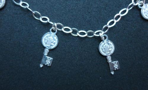 a pulsera san benito 7 llaves milagrosas  plata 925