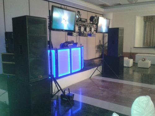 a sonido  rumbas,bodas,miniteca tv pantallas sonido flores