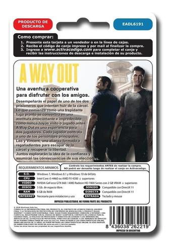 a way out pc juego pc origin original entrega ya digital