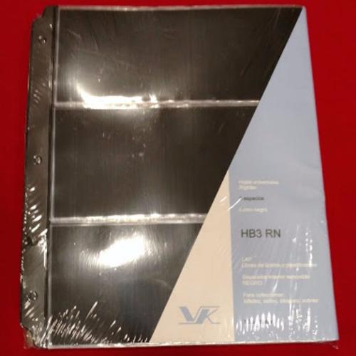 a0012 hoja rigida negra para billetes vk 3 espacios hb3 rn