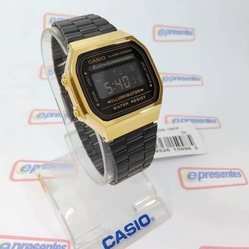 bd1e3c235cd A168wegb-1b Relógio Casio Dourado Preto Retro A168 Original - R  285 ...
