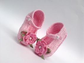 e8c0beb42 Sapatinhos Bebe Croche Rosa no Mercado Livre Brasil