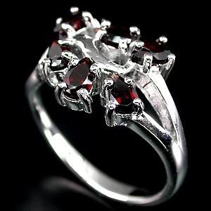 a300-18,5mm- delicado anillo plata925 oro con granates rojos