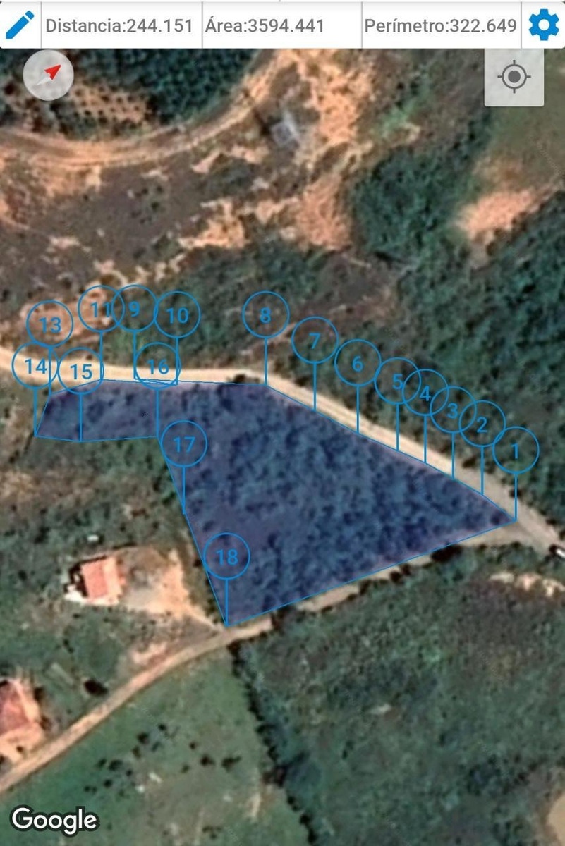 a600 metros del paviemento parcela en curiti 3593 metros