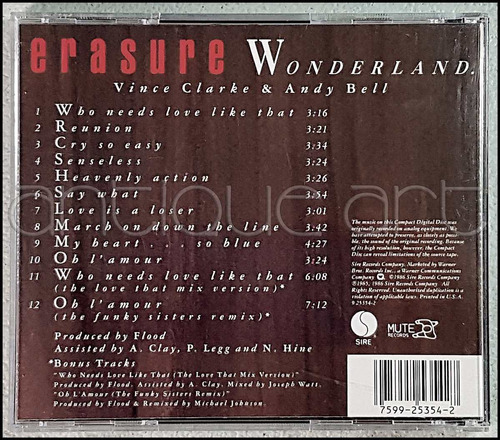 a64 cd erasure wonderland © 1986 sire mute techno synthpop