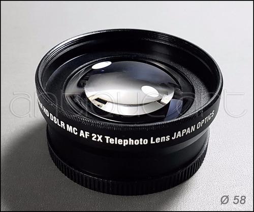 a64 lente conversor telefoto 2x para lentes ø58 nikon canon