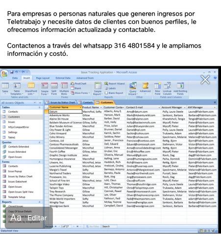aaa base de datos personas naturales - colombia
