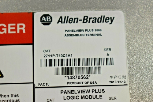 ab allen bradley 2711p-t10c4a1 panelview plus 1000 hmi
