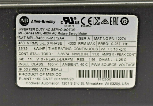 ab allen bradley mpl-b4530k-mj72aa kinetix inverter duty ac