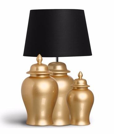 abajour e 2 potes dourado ouro cerâmica c/ cúpula 75cmx45cm