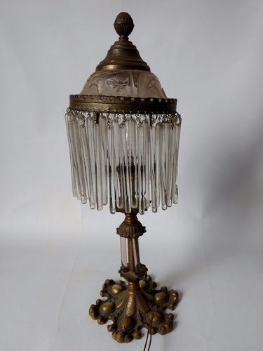 abajour franja canutilho vidro original pé bronze antiguidad