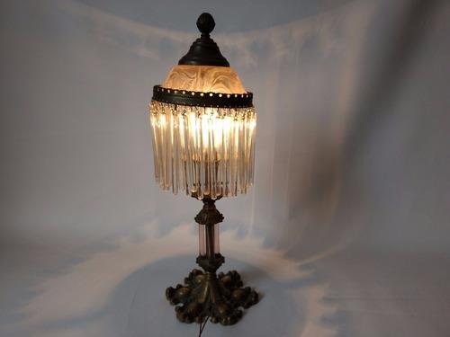 abajour luminária mesa canutilho  pé de bronze funciona rara