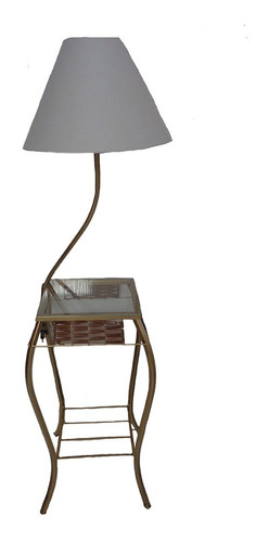 abajur com mesa canto com cúpula e vidro detalhe junco