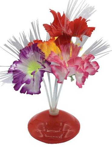 abajur de mesa luminária de fibra ótica flor decora