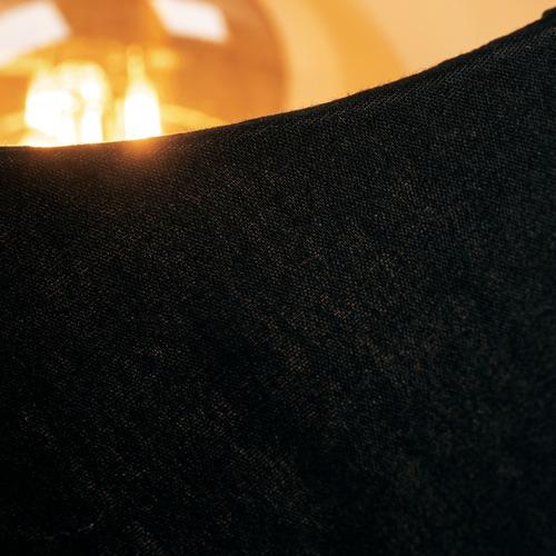 abajur de mesa preto bias carregador usb cúpula de tecido