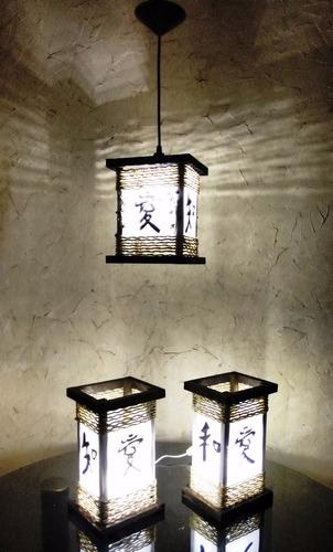 abajur e lustre com ideograma japonês kit 3 pçs frete grátis