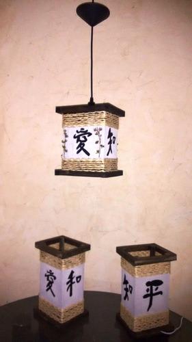 abajur e lustre com japonês conj 3pçs promoção frete grátis