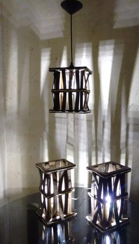 abajur e lustre rustico conj 3 pçs promoção frete grátis