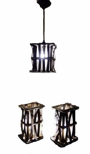 abajur e lustre rustico conjunto 3 pçs promoção frete gratis