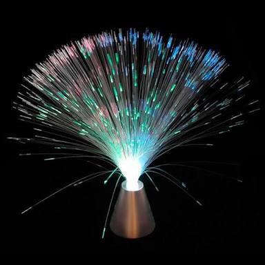 abajur fibra ótica kit com 10 base cromada decoração festa