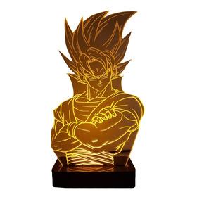 Abajur Luminária  Goku Dragon Ball - Fonte + Brinde + Frete