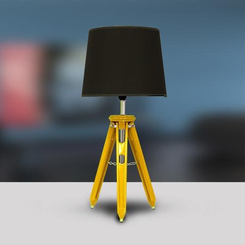abajur luminária 3 tubos madeira amarelo sala m751-am gda