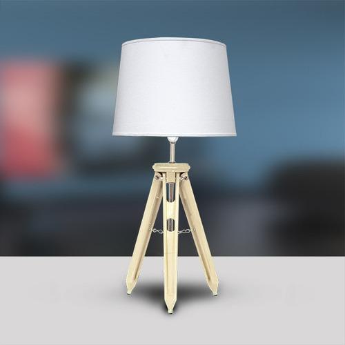 abajur luminária 3 tubos madeira marfim sala m751-mf gda