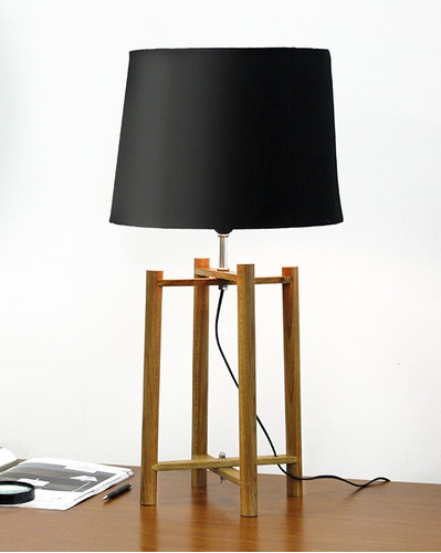 abajur luminária 4 tubos madeira moderno para sala m749 gda