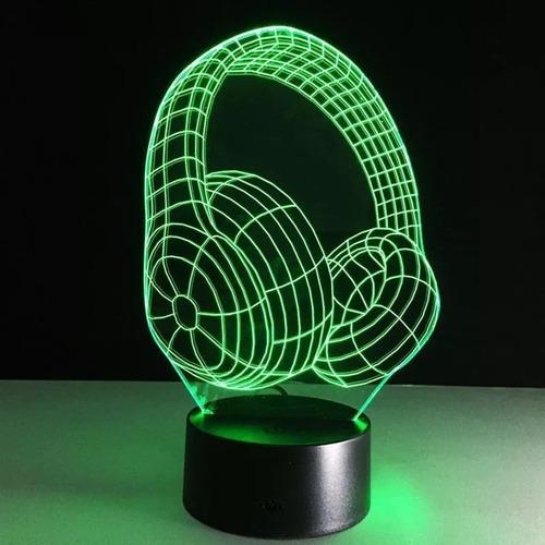 abajur luminaria led 3d fone de ouvido dj beats