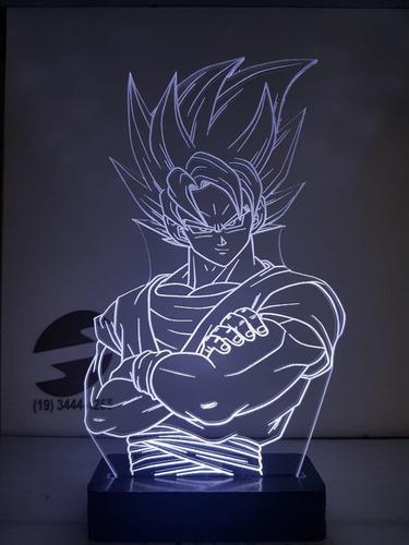 abajur luminária led goku dragon ball personalizado