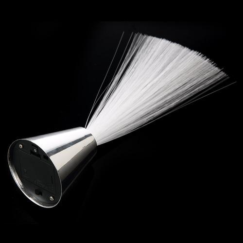abajur luminaria led prata de fibra otica 8 fases enfeite