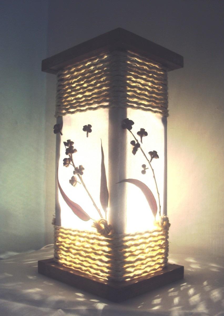 Abajur Luminaria Mesa Rustico De Corda Artesanal Sala  ~ Abajur De Parede Para Quarto Como Fazer