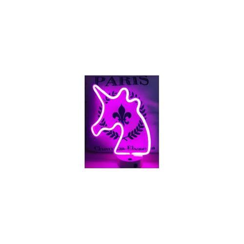abajur luminaria unicornio led neon festa com base pilha usb