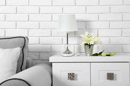 abajur mesa decoração estilo branco metal com cristal